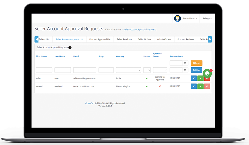Knowband-OpenCart-Marketplace-Seller-Account-Approval-Requests